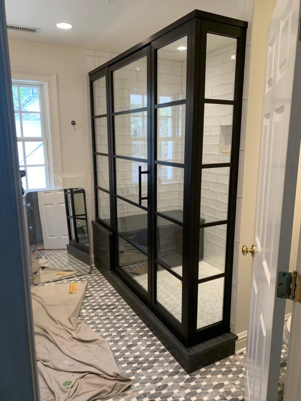 framed shower enclosure, fully framed shower, glass enclosure, glass shower enclosure, grid framed glass shower, glass enclosure design, shower glass installation